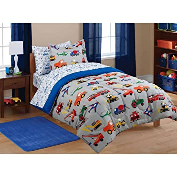 Amazon.com: 5pc Boy Blue Green Red Car Truck Transportation Twin ... : boy quilts bedding - Adamdwight.com