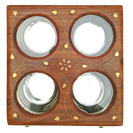 Kesha Spree Royal Dry Fruit Box Wood with 4 Storage Steel Compartments Glass Lid Antique Style in Wooden-Diwali Gift/Christmas