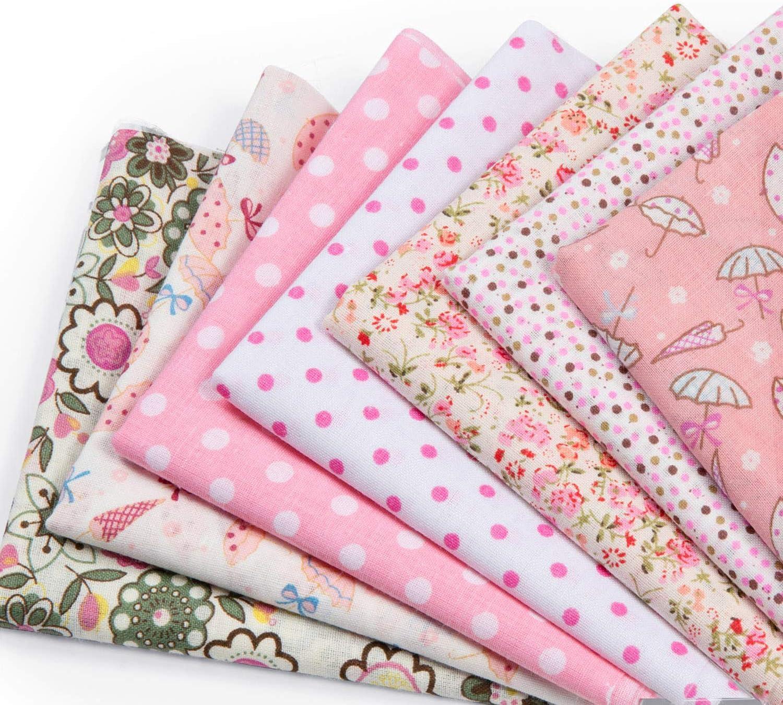 Czemo 7 Piezas 50 x 50cm Tela de Algodón Patchwork Paquete de Tela de Flores patrón Floral de Costura de Material Textil Manualidades Retales Telas para Coser DIY Bricolaje
