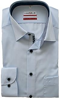 Marvelis Hemd mit Besatz 100/% Baumwolle Langarm 64cm New Kent Kragen B/ügelfrei Modern Fit Hellblau