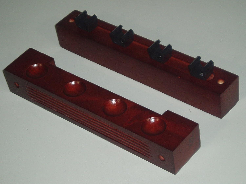 SGL - Estante de 2 piezas para 4 palos de billar, color caoba