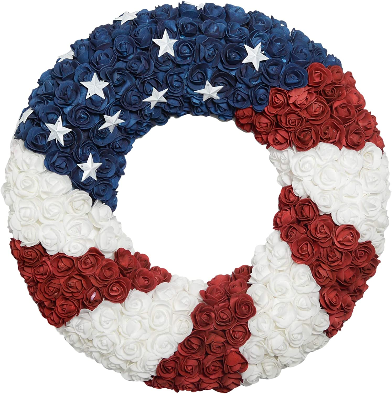 Amazon Com Ranspac Silk Rose Americana Wreath Patriotic Wreath 21 Inch Diameter Roses And Stars Red White And Blue 4th Of July Decorating Home Kitchen