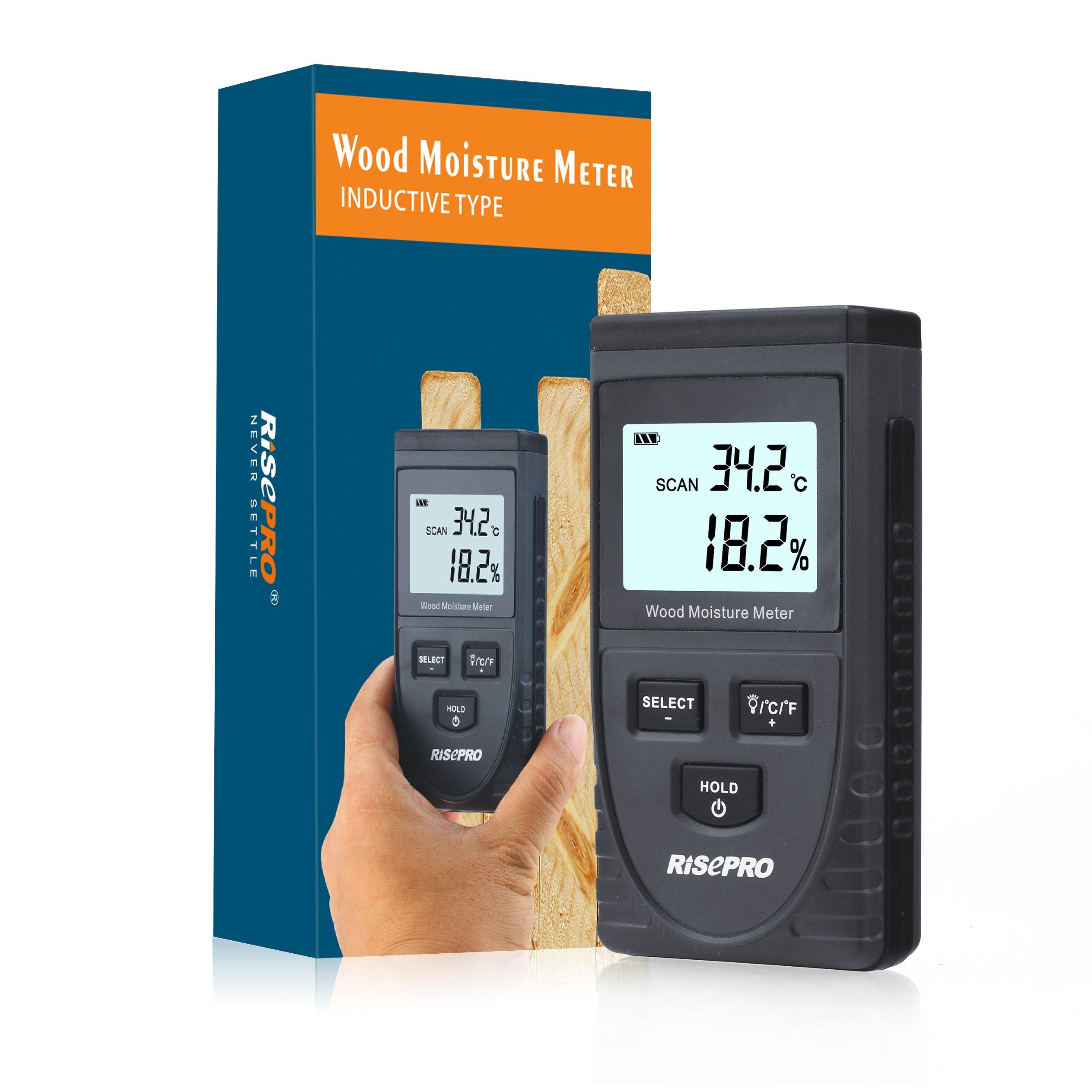 Wood Moisture Meter, RISEPRO Digital Moisture Meter Non-Invasive Inductive Wood Moisture Tester Water Content GM630