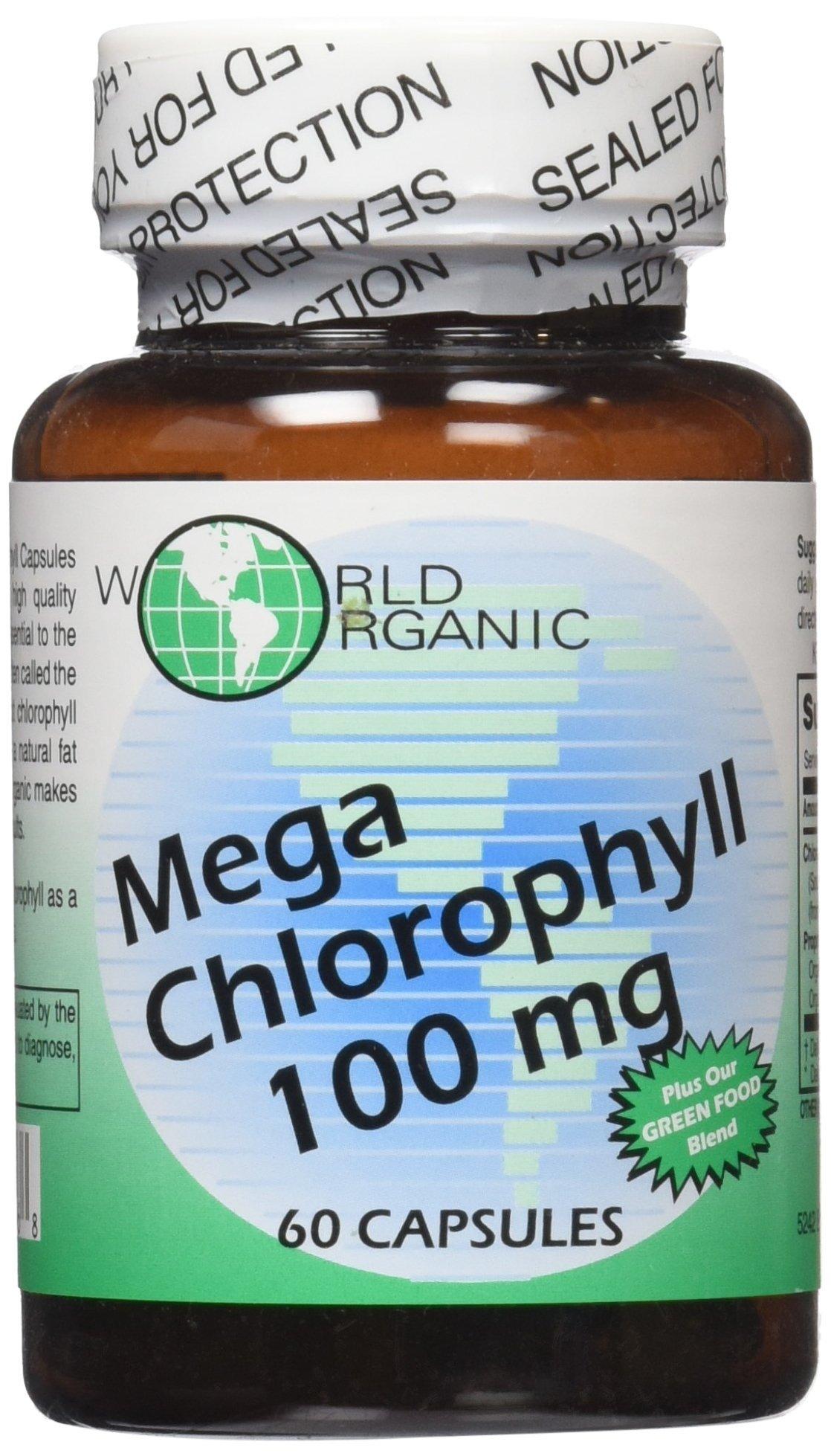 World Organic Mega Chlorophyll, 100 mg, Capsules, 60 capsules