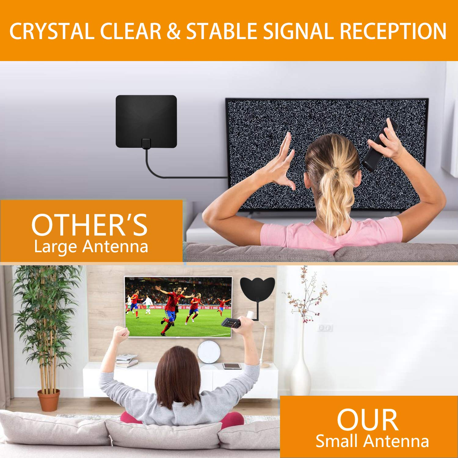 Miles Range 2019 Newest Digital Indoor TV Antenna 120 HDTV Antenna 4K 1080P VHF UHF Free Local Channels HDTV Antennas with Amplifier Signal Booster and 16.5 FT Coaxial Cable for All Type Television