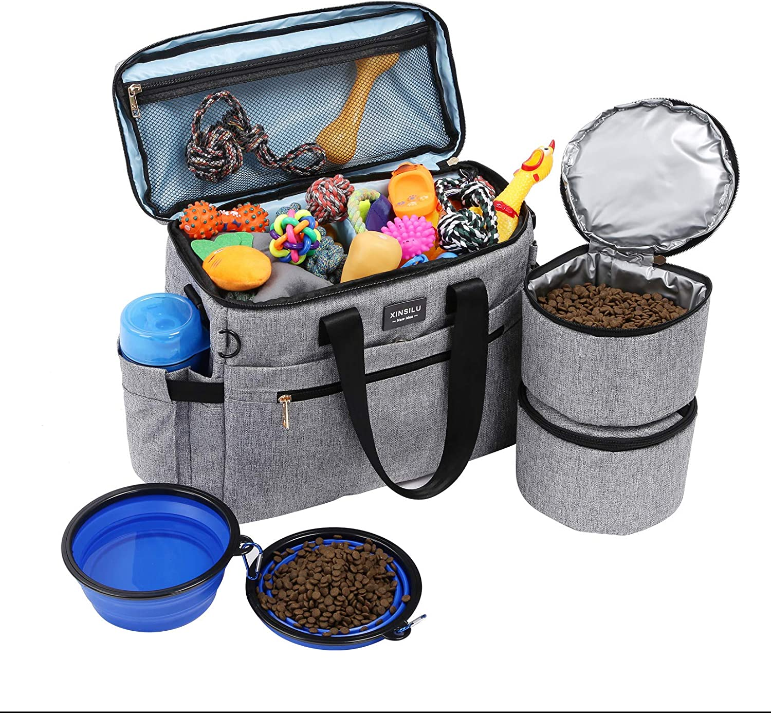 Dog Travel Bag, Pet Owner Multi-Use Dog Outdoor Bag, Include 2X Collapsible Dog Bowls, 2X Food Storage Containers, Airplane Approved, Perfect Weekend Pet Travel Set for Dog, Cat, Gray