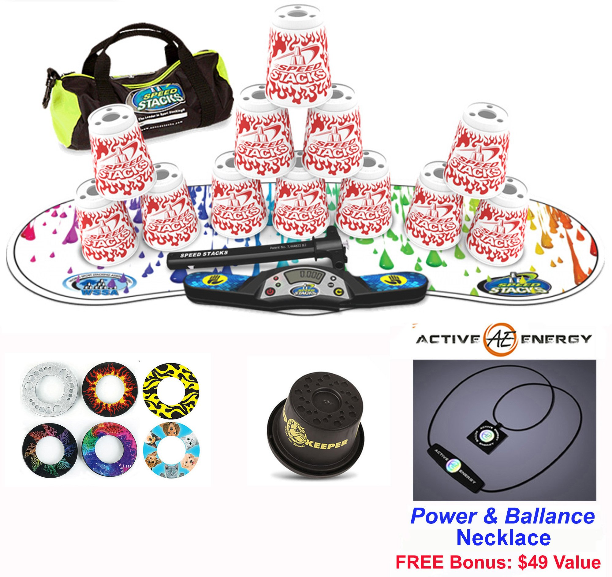 Speed Stacks Combo Set ''The Works'': 12 WHITE FLAME 4'' Cups, RAINBOW DROP Gen 3 Mat, G4 Pro Timer, Cup Keeper, Stem, Gear Bag + Active Energy Necklace