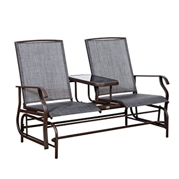 Outsunny Patio Glider Rocking Chair 2 Person Outdoor Loveseat Rocker Garden  Furniture Bench