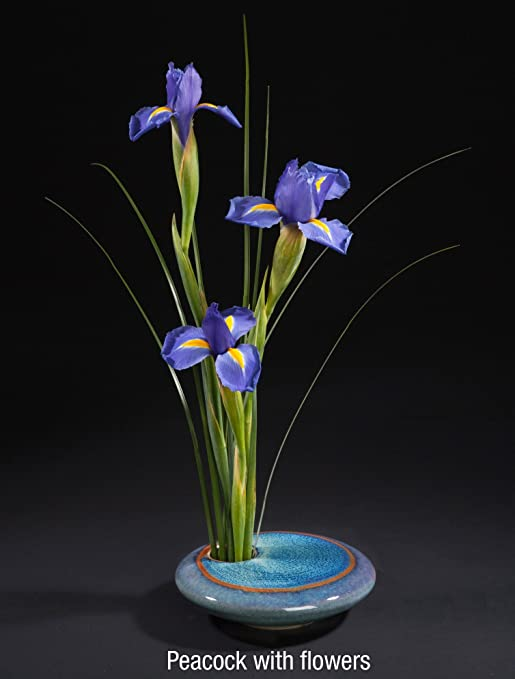 Amazon Georgetown Pottery Round Ikebana Flower Vase Blue
