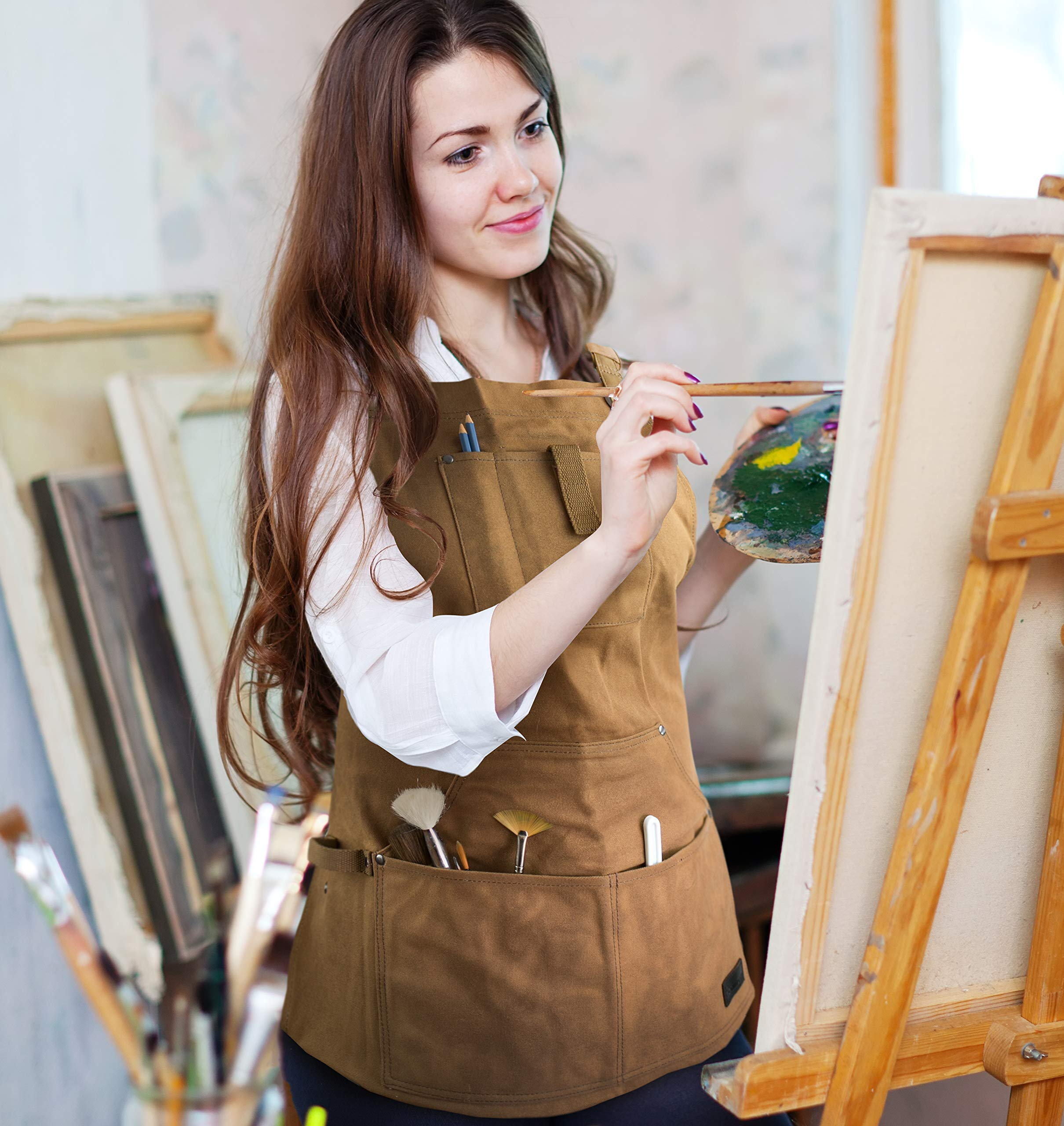 Waterproof Canvas Work Apron for Men and Women, Heavy-Duty Waxed for Durability and Safety - Brown by NomadFox (Image #8)