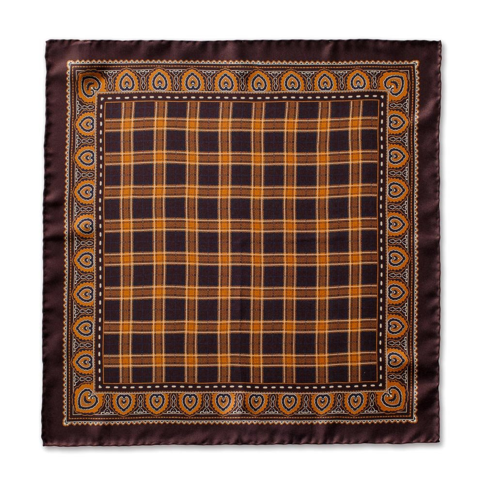 Caravaggio Italian Men's SilkPocket Square - 16.5 Inches, Brown