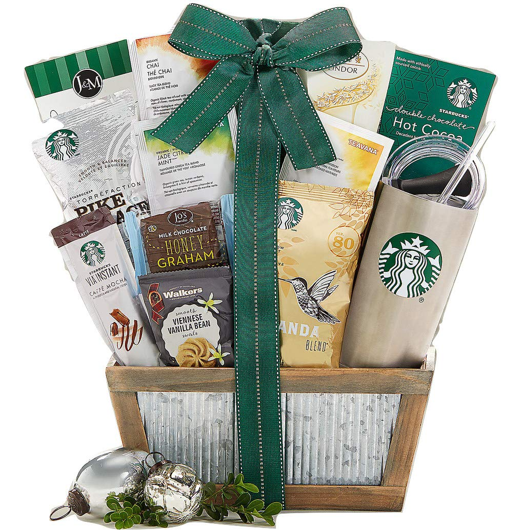 Starbucks Coffee and Teavana Tea Gift Basket. Great for Coffee or Tea Drinker Starbucks Teavana Coffee Ready to Brew 20oz Stainless Steel Tumbler Reusable Via Instant Mocha Latte Truffles by Wine Country Gift Baskets