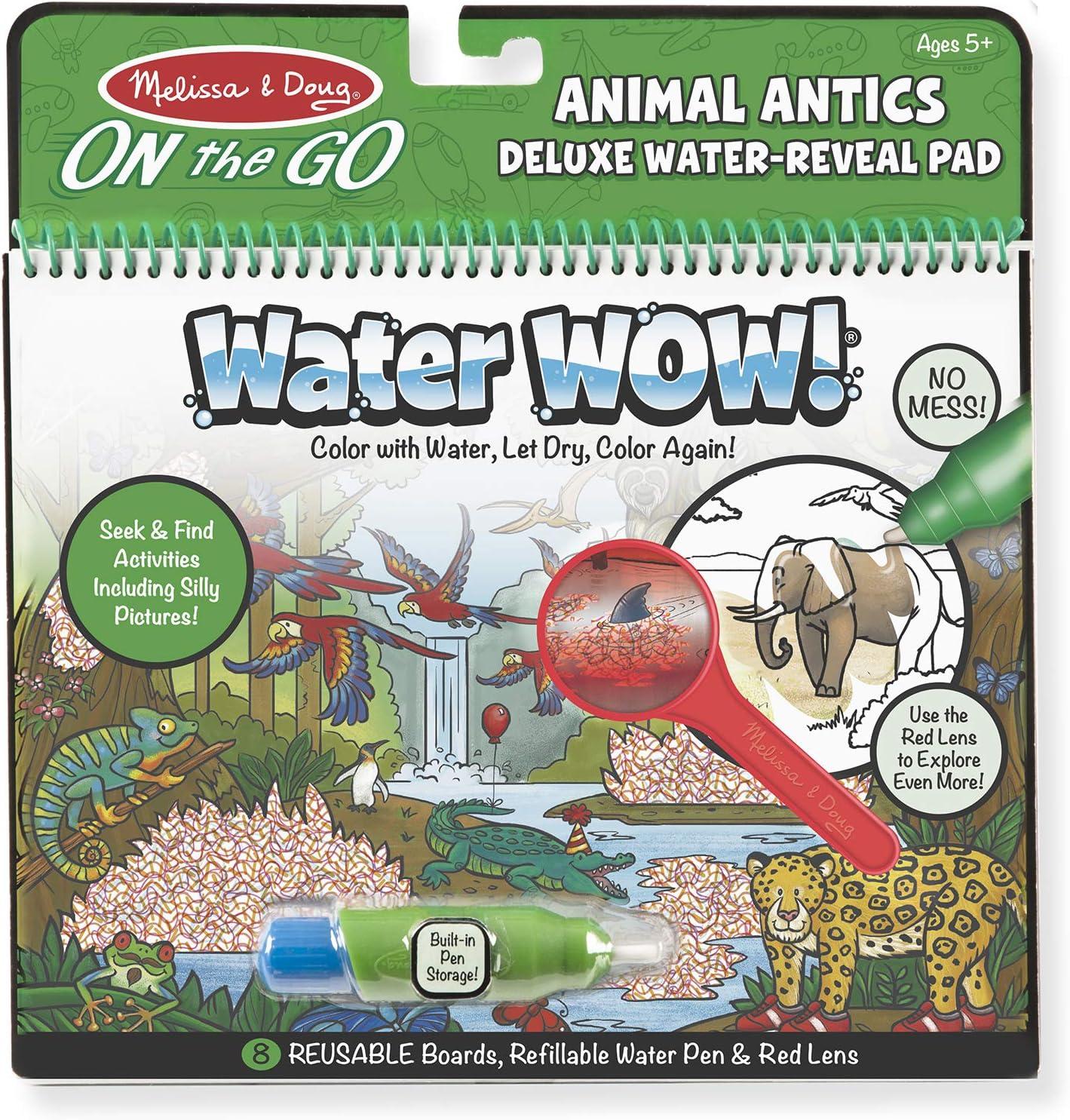 Melissa & Doug On the Go Water Wow! Reusable Water-Reveal Deluxe Activity Pad – Animal Antics