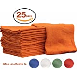 Auto-Mechanic Shop towels, Rags by Nabob Wipers 100% Cotton Commercial Grade Perfect for your Home Garage & Auto Body Shop (14x14) inches, 25 Pack, (Orange)