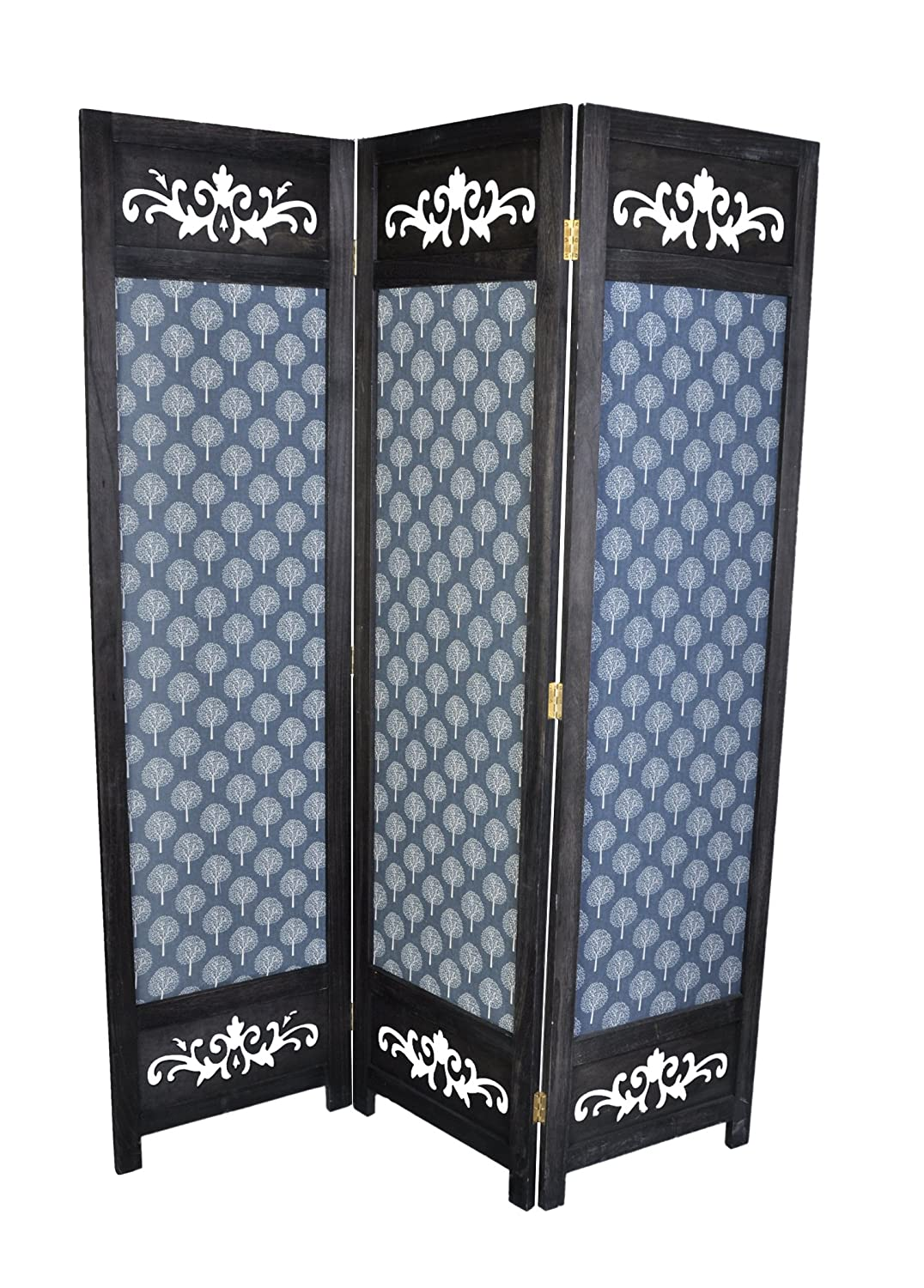 3 Panel Solid Wood And Canvas Screen Room Divider, Black Color With Decorative Cutouts And Tree Designs, By Legacy Decor by Legacy Decor