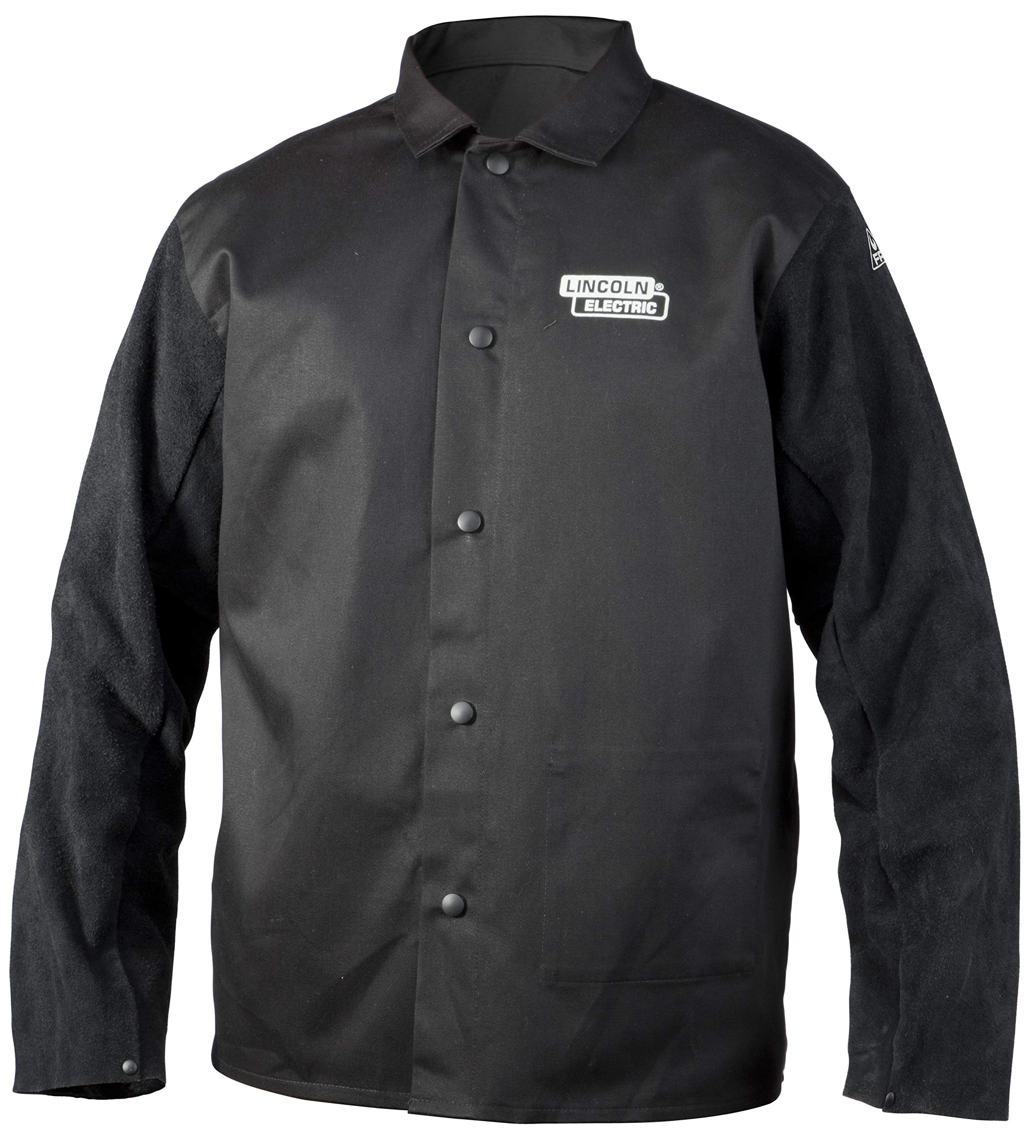 Lincoln Electric Split Leather Sleeved Welding Jacket | Premium Flame Resistant Cotton Body | Black | 2XL | K3106-2XL by Lincoln Electric