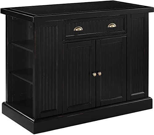 Crosley Furniture Seaside Kitchen Island with Solid Granite Top, Black