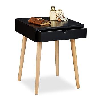Relaxdays Nachttisch ARVID mit Schublade, Nachtkommode, Holz, Beine ...