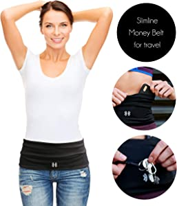 Limber Stretch Travel Money Belt Unisex, Running Belt, Insulin Pump Fanny and Hiking Waist Pack with Key Clip | Large Sweatproof Security Pocket Fits All iPhones, Passports | Extra Wide Spandex