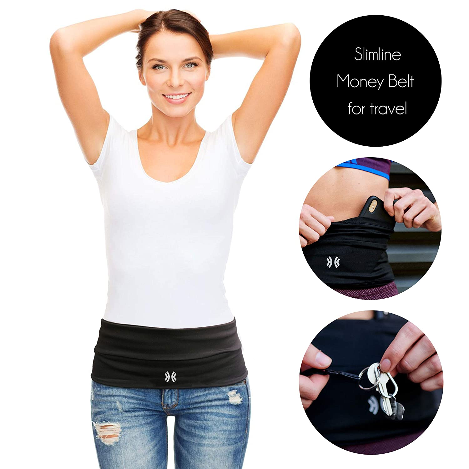 Limber Stretch Travel Money Belt Unisex, Running Belt, Insulin Pump Fanny and Hiking Waist Pack with Key Clip Large Sweatproof Security Pocket Fits All iPhones, Passports Extra Wide Spandex