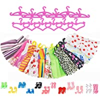 Asiv 12 Abiti 12 Paia di Scarpe 12 Rosa Grucce per Barbie, Dolls Accessori per bambino Regali (36pz)
