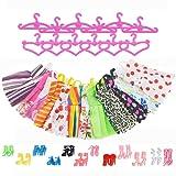 Asiv 12 Abiti 12 Paia di Scarpe 12 Rosa Grucce per Barbie Accessori Regali per bambino (36pz)
