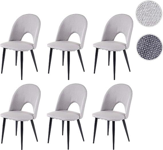Set 6X sedie HWC-D73 Design Retro Anni 50 Metallo Tessuto Grigio