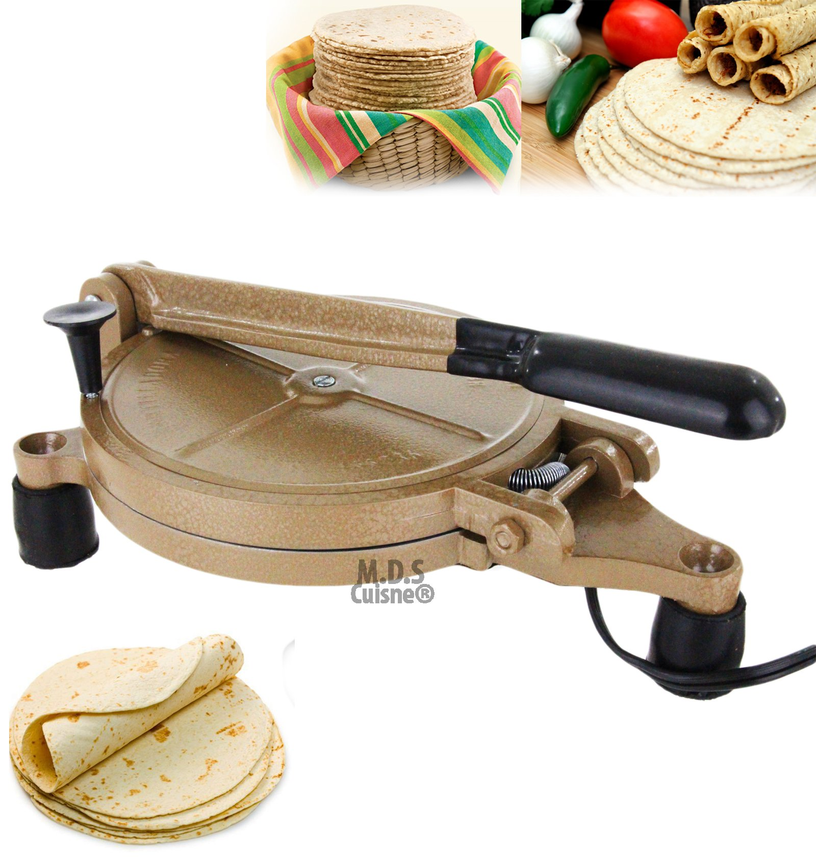 Electric Tortilla Press Baking Maker Heavy Duty Authentic Mexican Non Stick New by M.D.S Cuisine Cookwares