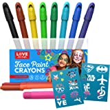 Face Paint Kit for Kids with 12 Non Toxic Color Sticks. Best Quality Body Painting Set +18 BONUS Stencils & E-book. Easy to Apply, Long Lasting, Water-Based Twist Up Crayons.!