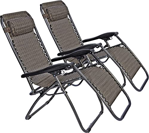 LUCKYERMORE 2-Pack Zero Gravity Lawn Chairs Folding Adjustable Chaise Lounge Chair Recliners Outdoor Patio Pool Beach Chair, Support 300 Lbs