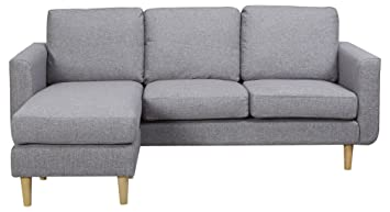 Leader Lifestyle Harry Corner Sofa in Pepper Grey Fabric Corner ...