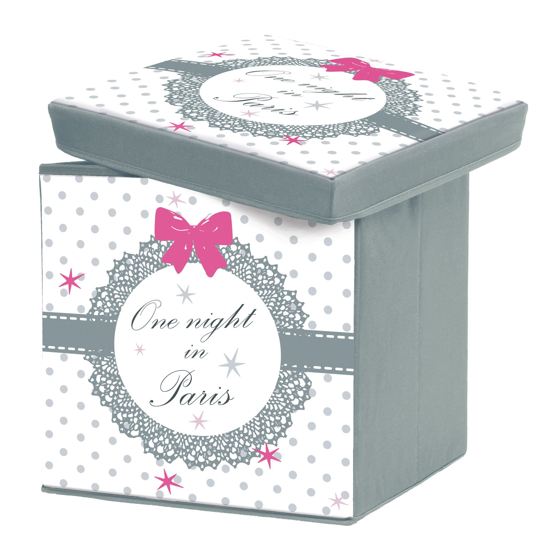 Charming and softness 1721803 Paris Love Storage Box Foldable Polyester Print 38 x 38 x 38 cm by Charme et Douceur (Image #1)