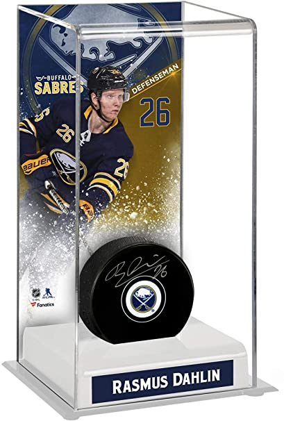 40d97f282 Rasmus Dahlin Buffalo Sabres Autographed Puck with Deluxe Tall Hockey Puck  Case - Fanatics Authentic Certified