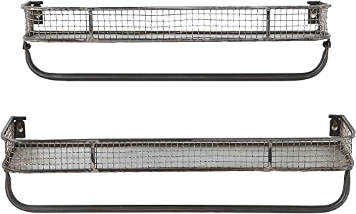 Creative Co-Op Metal Wall Shelves with Hanging Bar Set of 2 Sizes