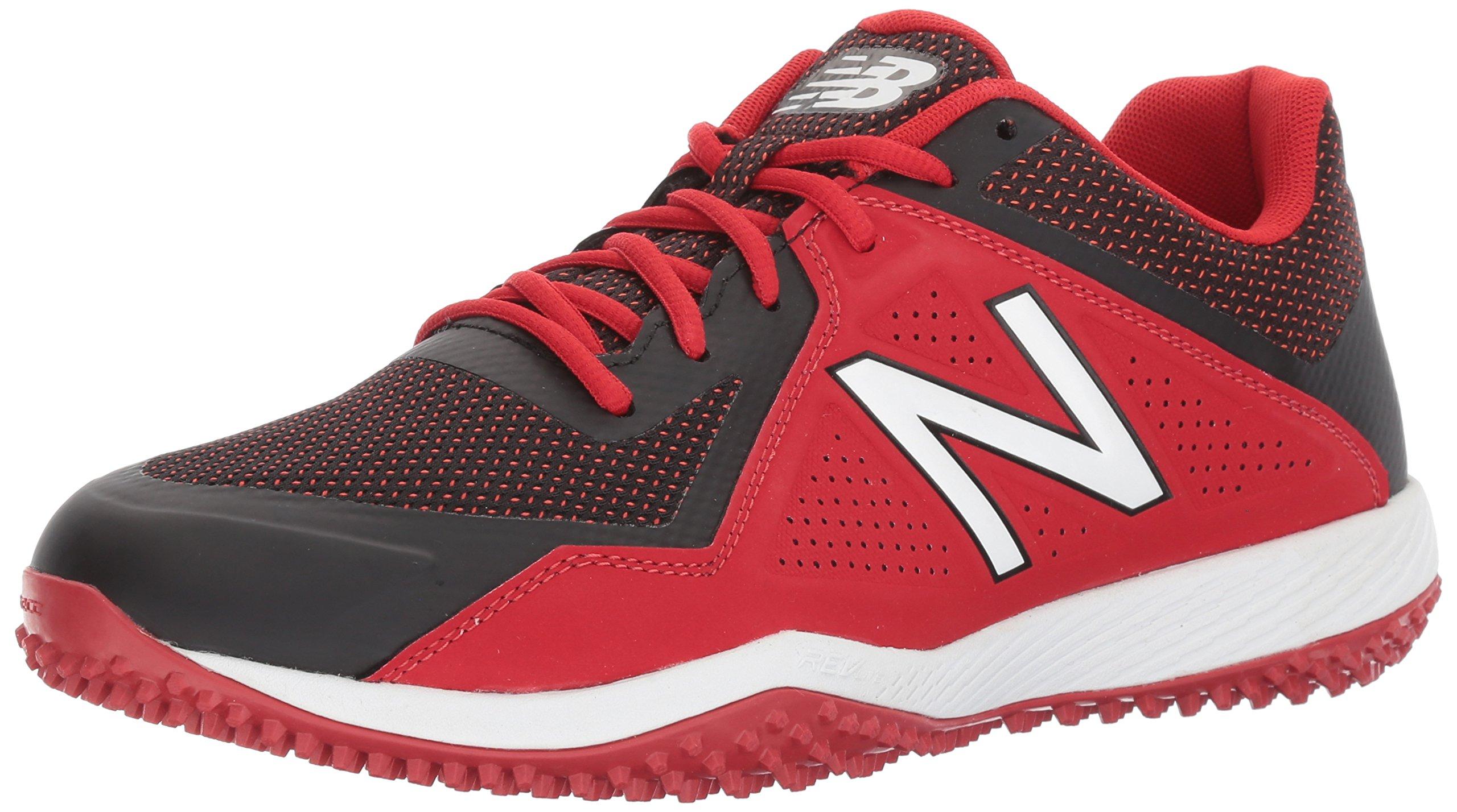 New Balance Men's T4040v4 Turf Baseball Shoe, Black/Red, 5.5 2E US by New Balance