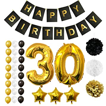 BELLE VOUS Globos Cumpleaños Happy Birthday, Suministros y Decoración Globo Grande de Aluminio - Decoración Globos De Látex Dorado, Blanco y Negro - ...