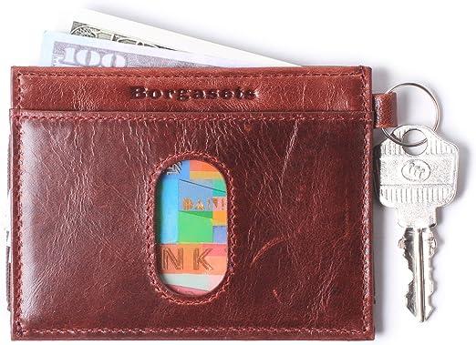 Genuine Leather Card Case Men/'s Front Pocket Card Holder Purse Slim Wallet Thin