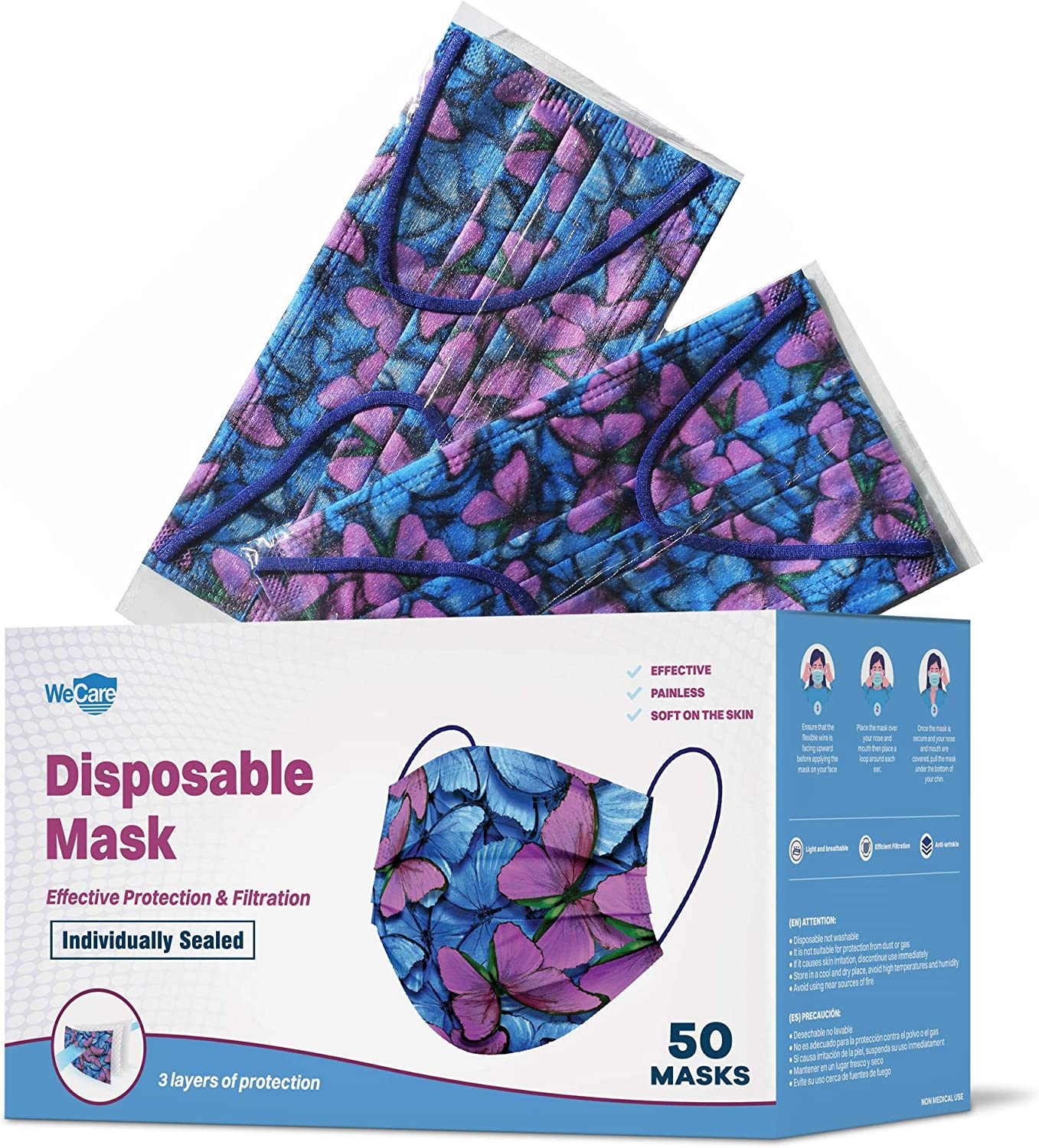 LOT OF 3 FACE MASK WASHABLE /& REUSABLE BUTTERFLY PATTERN *MADE IN THE USA* T1