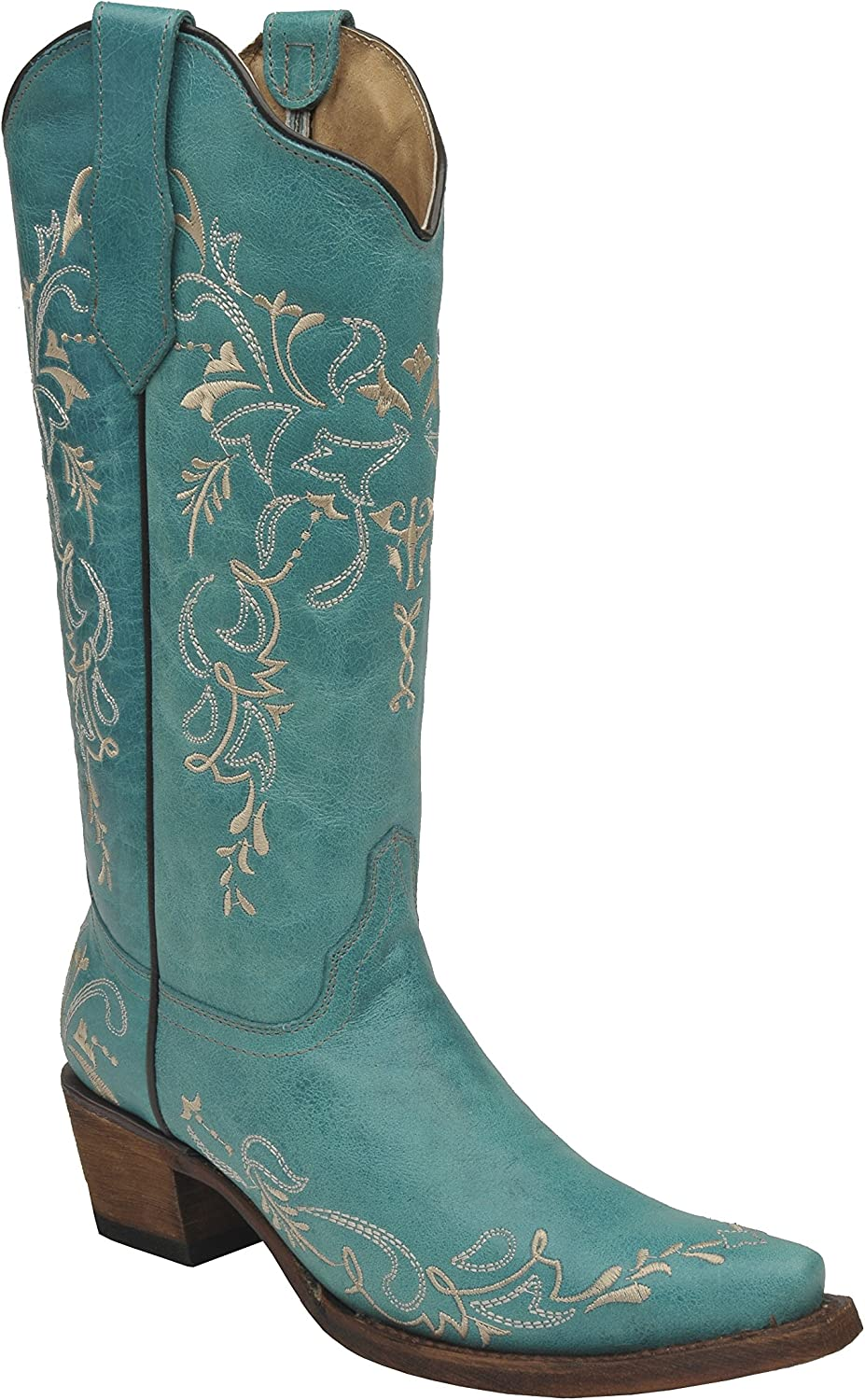 Corral Women/'s 12-inch Brown Turquoise//Beige Embroidery Snip Toe Pull-On...