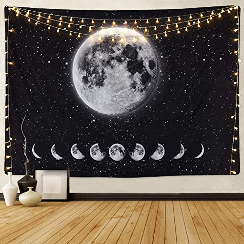Moon Lunar Eclipse Tapestry, Galaxy Night Sky Tapestry Starry Space Tapestry Universe Stars Sky Tapestry Planet Tapestry for Living Room Bedroom
