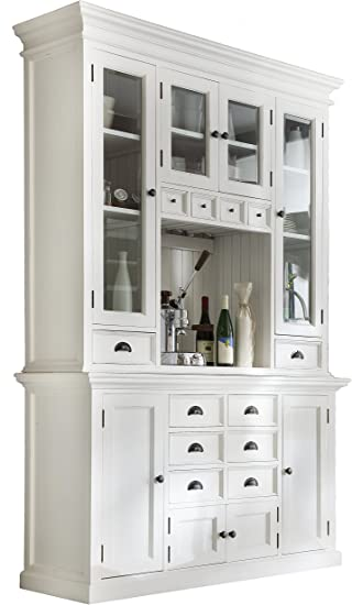 NovaSolo Halifax Pure White Mahogany Wood Hutch Cabinet With Glass Doors,  Storage And 12 Drawers