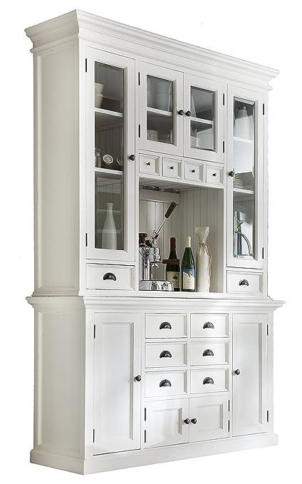 Amazon.com: NovaSolo Halifax Pure White Mahogany Wood Hutch ...