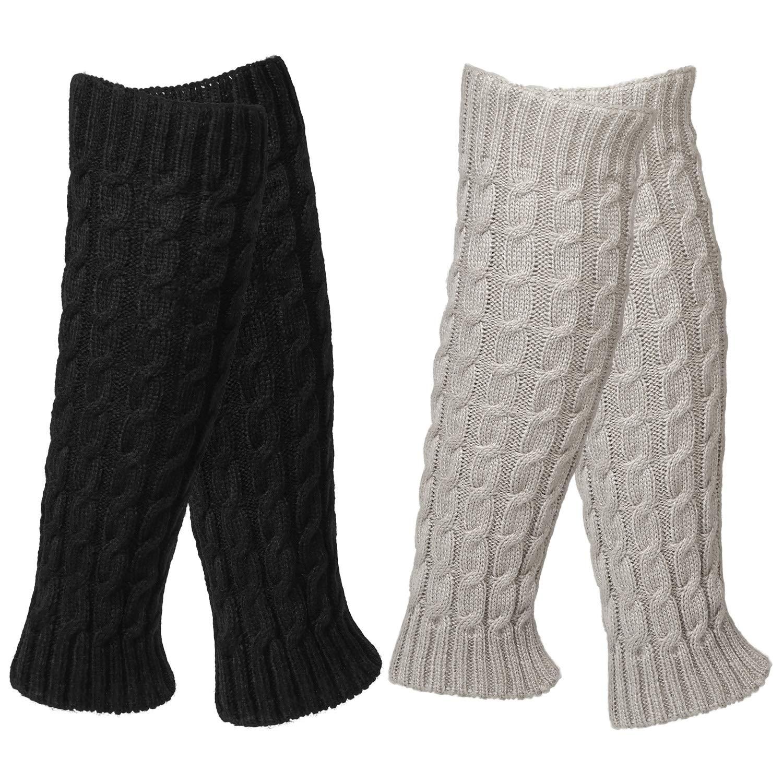scaldamuscoli al ginocchio alluncinetto lavorati a maglia invernali scaldamuscoli alla caviglia QKURT Scaldamuscoli 2 pezzi