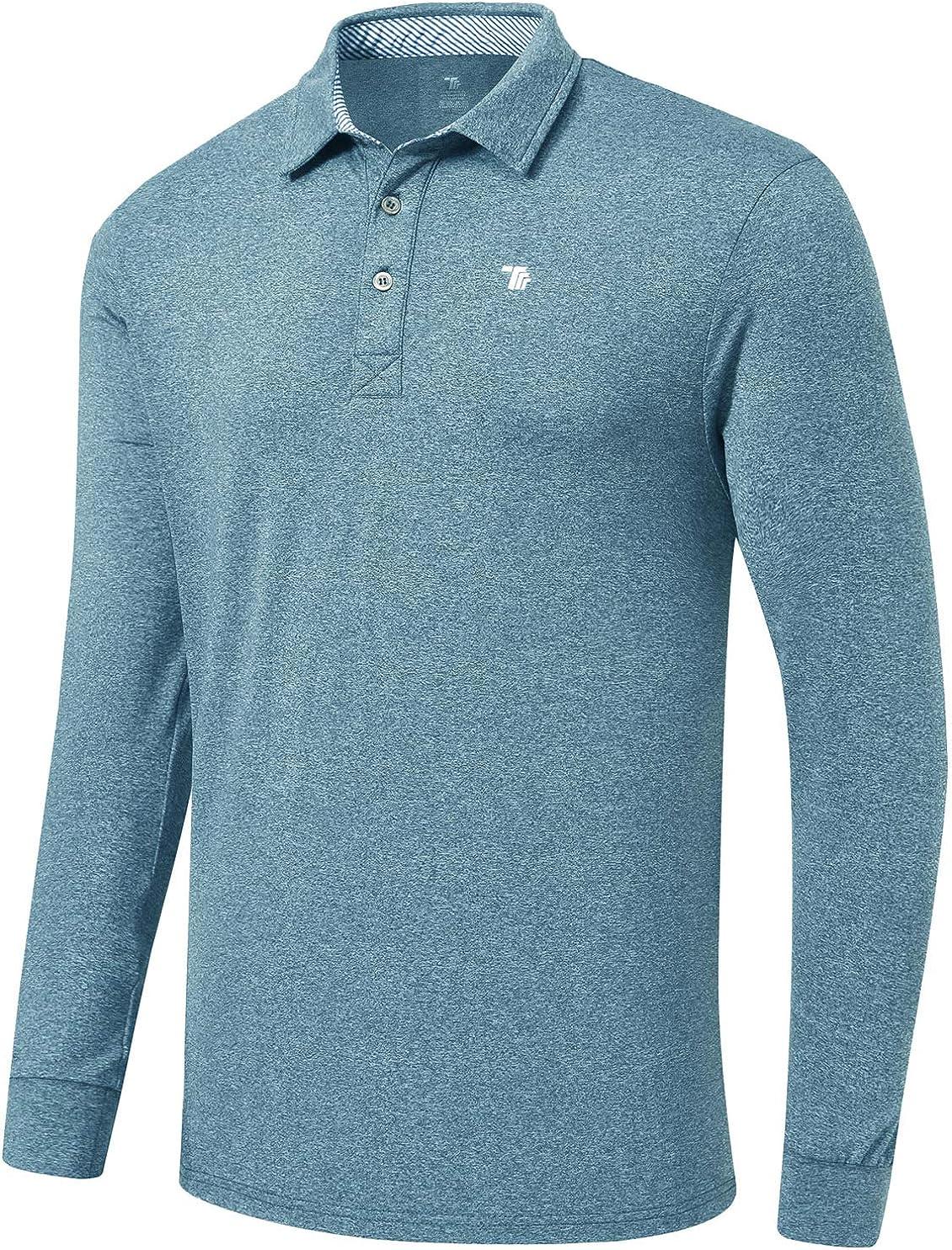 MoFiz Men's Golf Shirts Polo Shirts Athletic Casual T-Shirt Quick Dry Long Sleeve