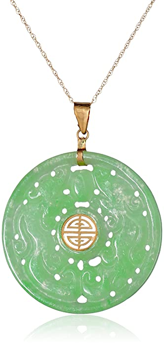 Amazon 14k yellow gold carved green jade good fortune pendant 14k yellow gold carved green jade good fortune pendant necklace 18quot mozeypictures Choice Image