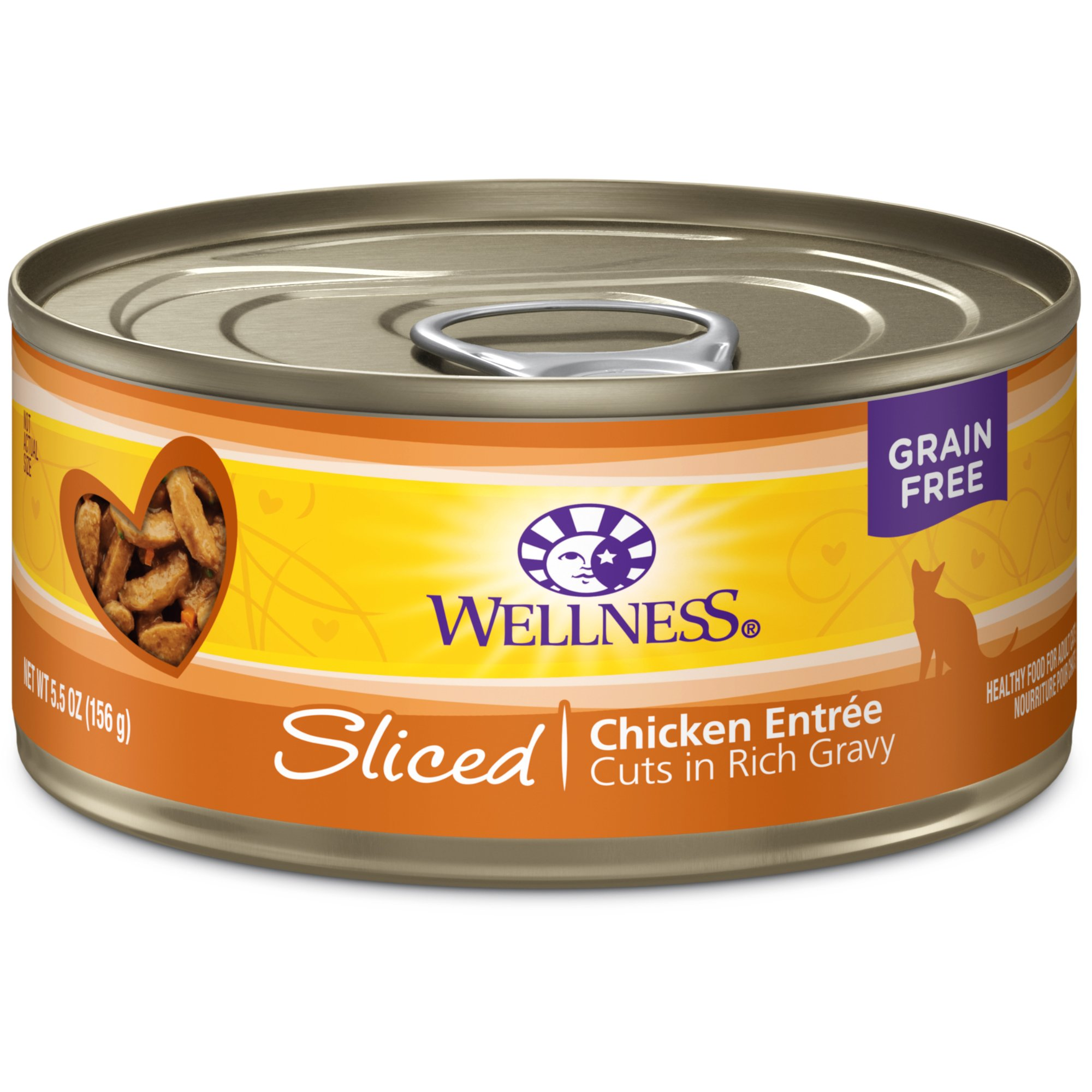 Wellness Complete Health Natural Grain Free Wet Canned Cat Food, Sliced Chicken Entrée, 5.5-Ounce Can (Pack Of 24) by Wellness Natural Pet Food