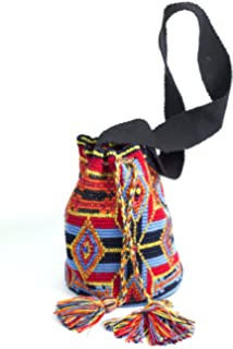 Wayuu Mochila Bag Authentic Large Handmade Colombian w/ Crystals (107RB)