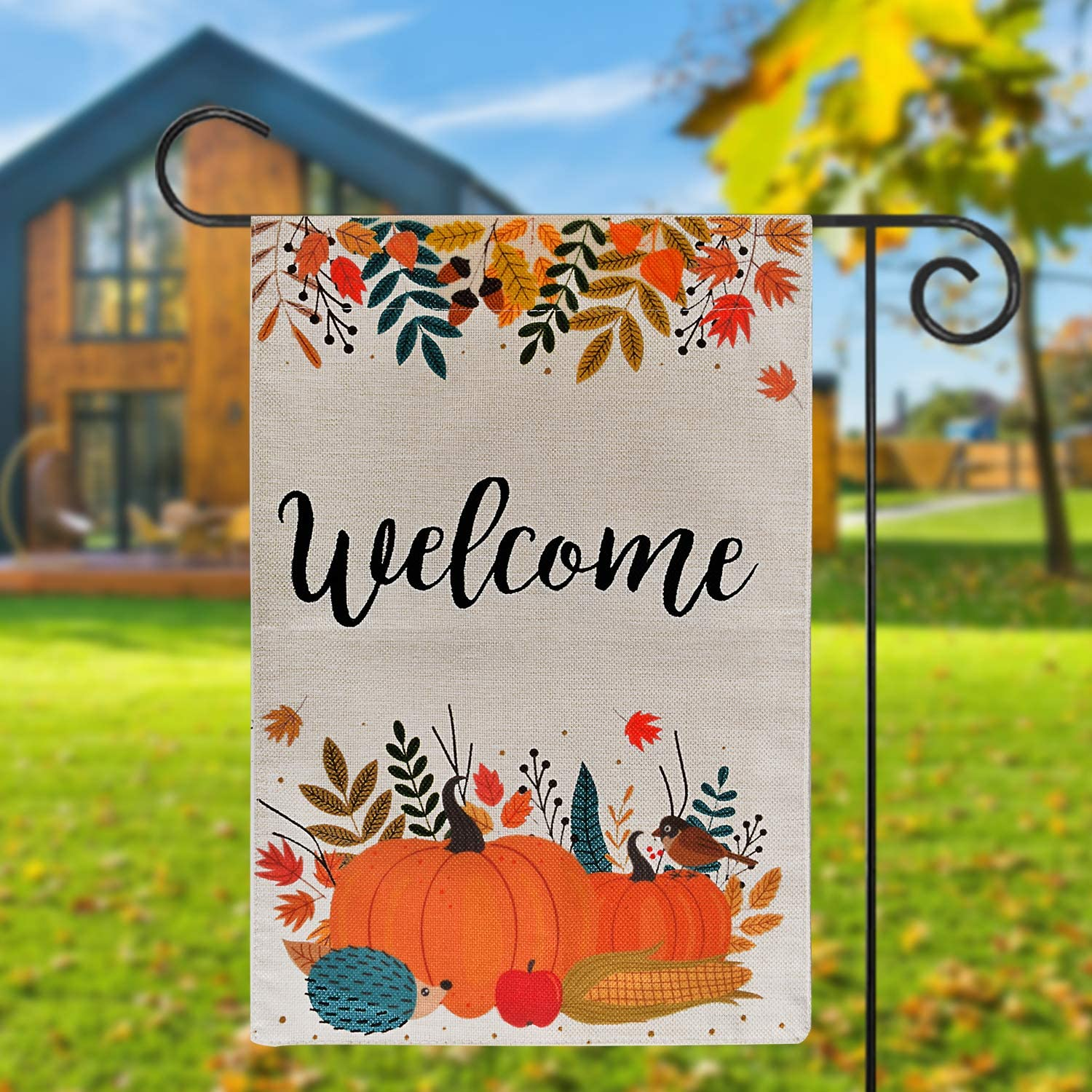TGOOD Welcome Pumpkin Fall Garden Flag Vertical Double Sided, Seasonal Autumn Maple Leaves Fall Porch Decor, Vintage Halloween Thanksgiving Rustic Burlap Flag Yard Outdoor Decoration 12.5 x 18''