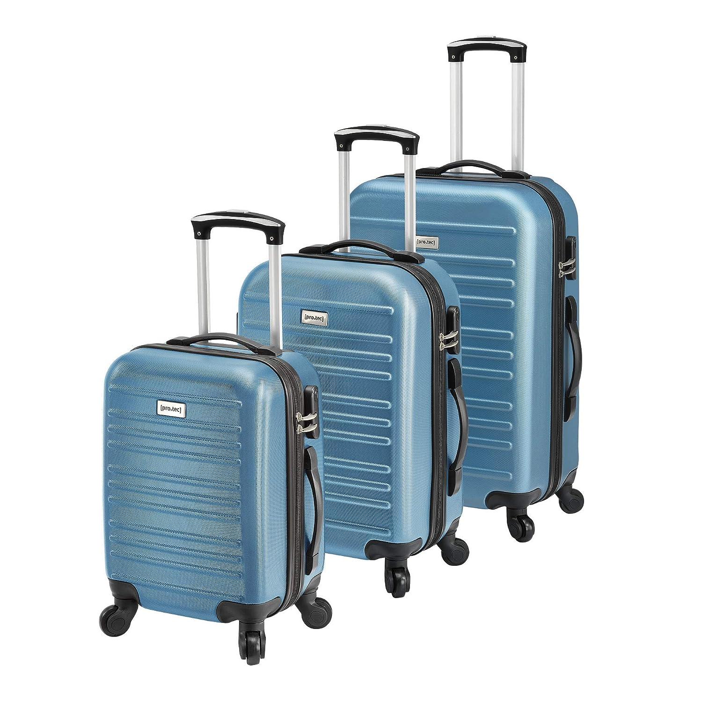 pro.tec Set de 3 valises Bagages à roulettes Rigide Léger Cabine ABS-Plastique 170D Polyester avec Roues Plastiques caoutchoutées Noir [pro.tec]