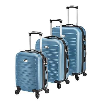 [pro.tec] Set de 3 Maletas - Azul - 3 Maletas duras Flexibles de Plástico ABS: Amazon.es: Hogar